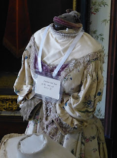 Georgian dress in the Dressing Room,  Athelhampton House, Dorset