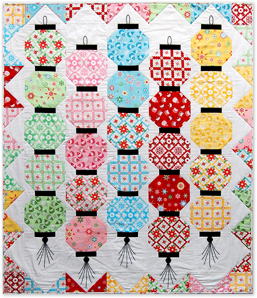 Happy Glow Japanese Lantern Quilt Free Pattern Designed by Monica Solorio-Snow for The Happy Zombie
