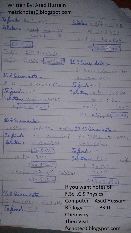 Matric 10th Physics Notes Chapter 10 Numerical Asad Hussain 1