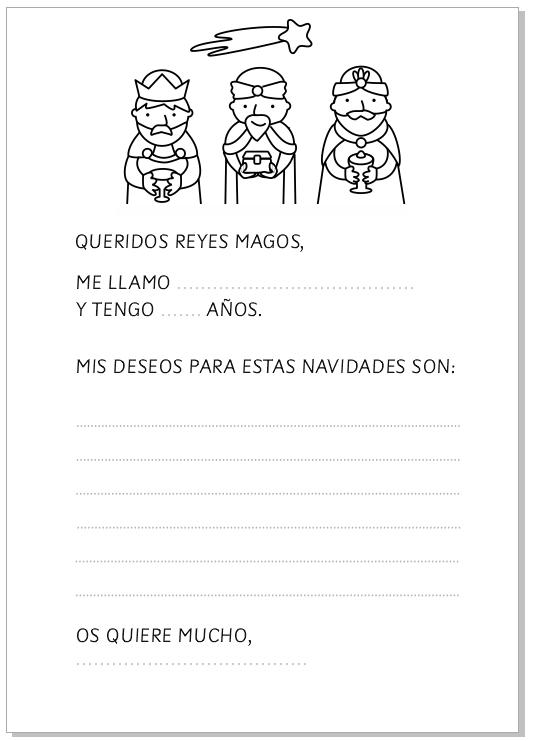 Actividad Navidad: escribir carta a los Reyes Magos homeschool Infantil