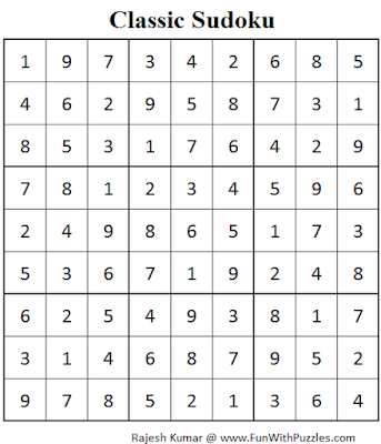 Classic Sudoku (Fun With Sudoku #73) Solution