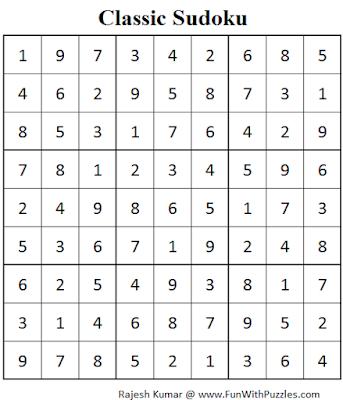 Classic Sudoku (Fun With Sudoku #73) Solution
