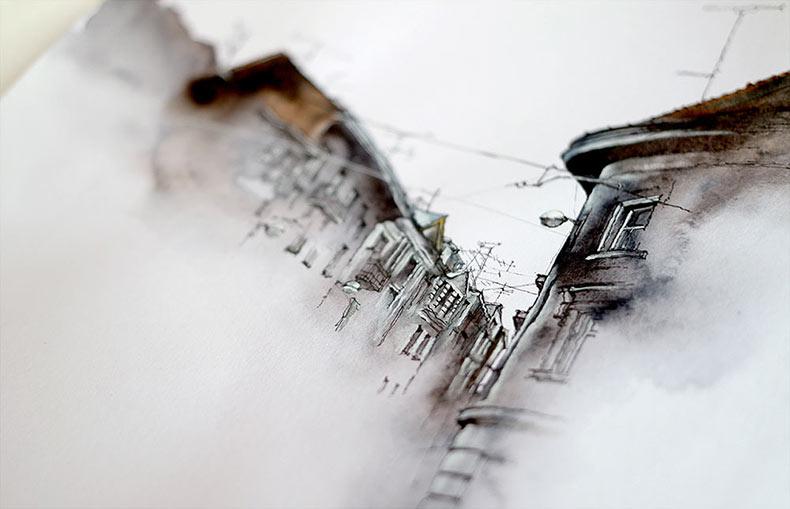 Nuevas acuarelas arquitectónicas de ensueño del artista Sunga Park