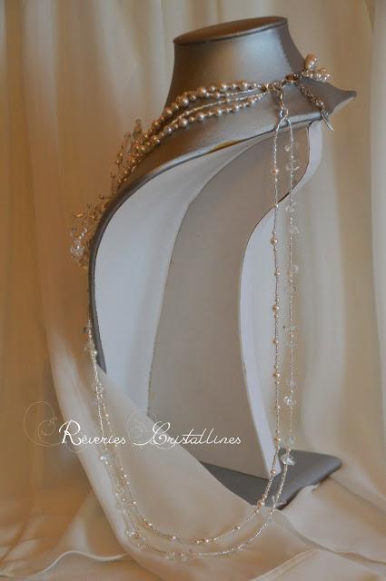 collier mariée papillon perles