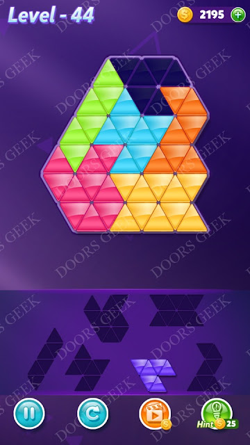 Block! Triangle Puzzle Intermediate Level 44 Solution, Cheats, Walkthrough for Android, iPhone, iPad and iPod