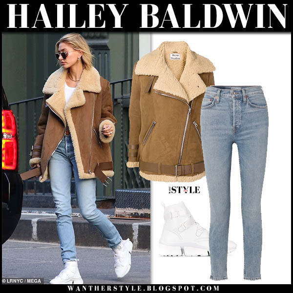 Hailey Baldwin in brown shearling suede acne velocite jacket and jeans model winter style december 9