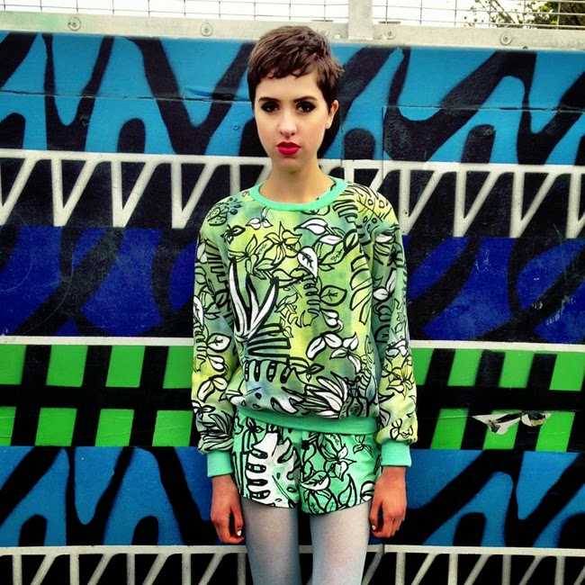 typical freaks, tropical prints, printed sweater