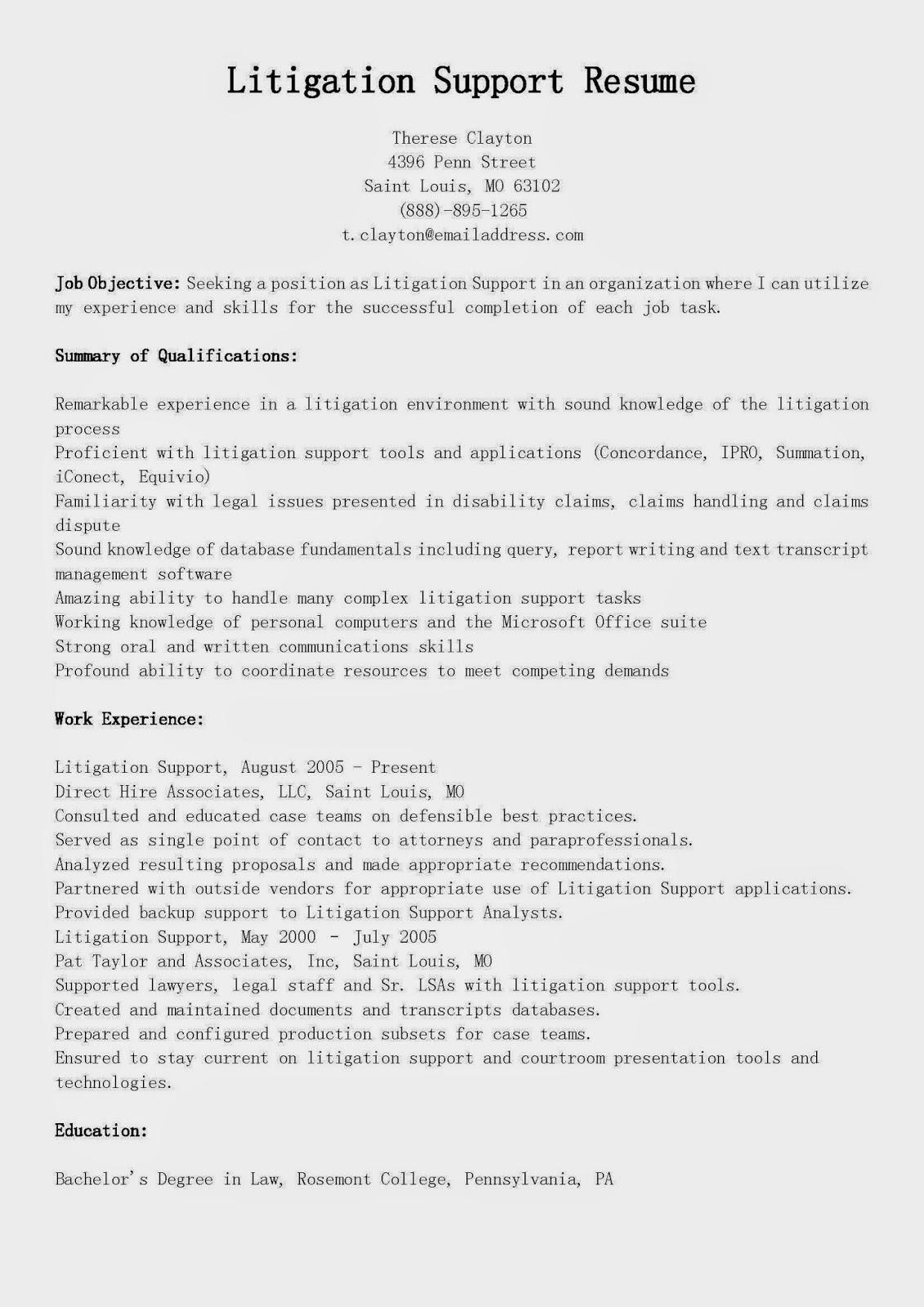 resume samples  litigation support resume sample
