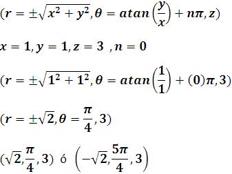 Ejemplo de colocar un punto de coordenadas rectangulares a cilíndricas
