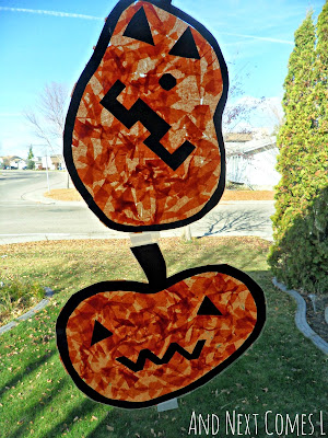 Simple jack-o-lantern window art for kids to make for Hallowen from And Next Comes L