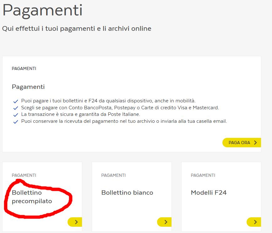Scelta del bollettino precompilato su Bancoposta Online
