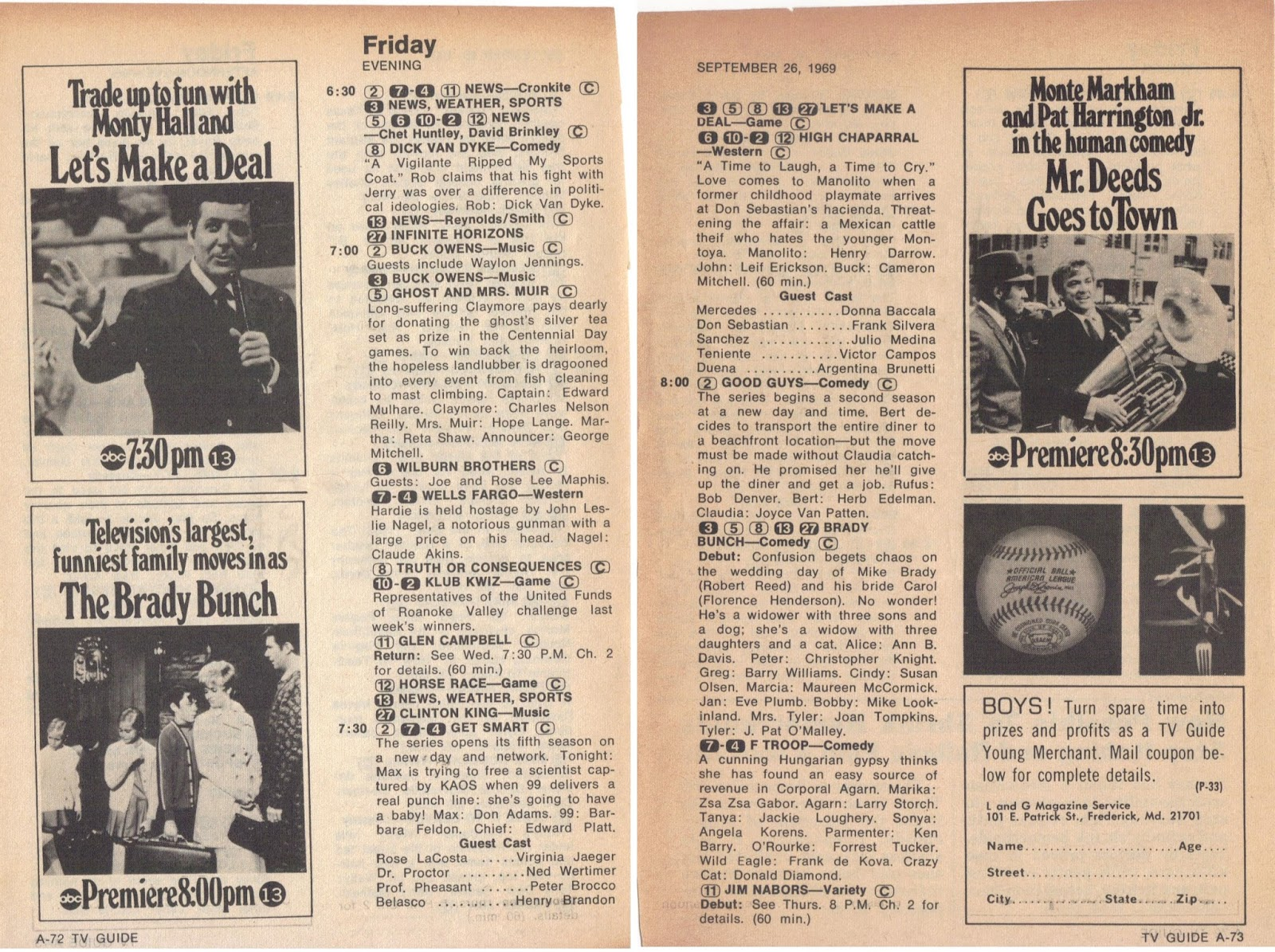 The Brady Bunch Blog  Friday Night TV Guide in 1969 Friday Night TV Guide in 1969