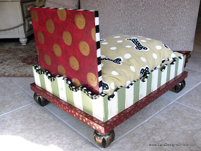 hand painted whimsical dog bed