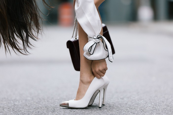 cap toe white heels