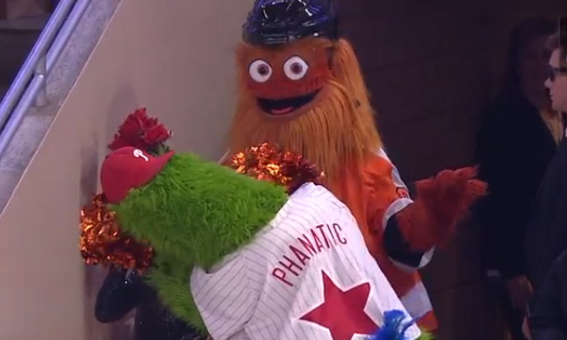 Flyers mascot Gritty betrayed by Philly Phanatic
