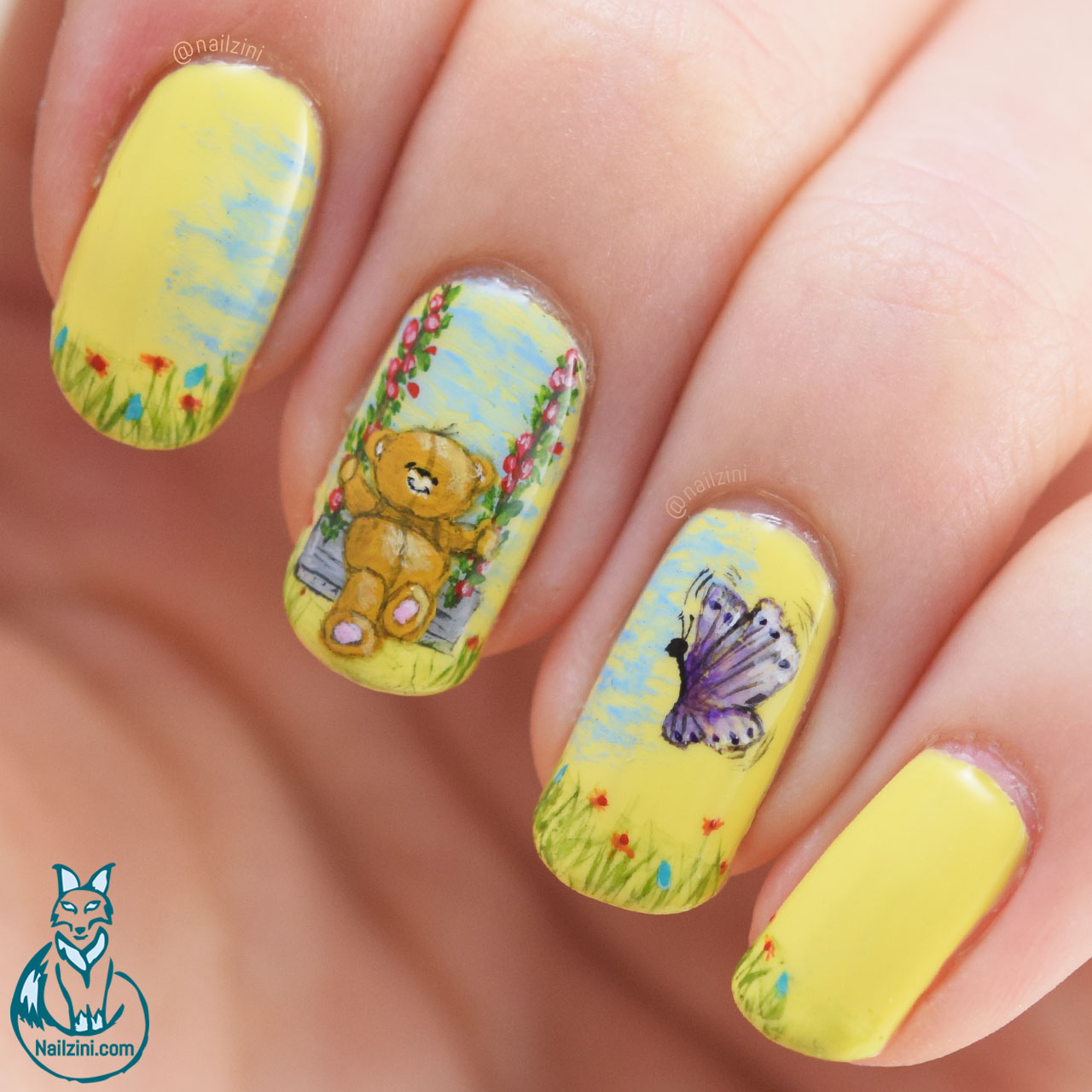 Adorable Swinging Bear Nail Art Nailzini