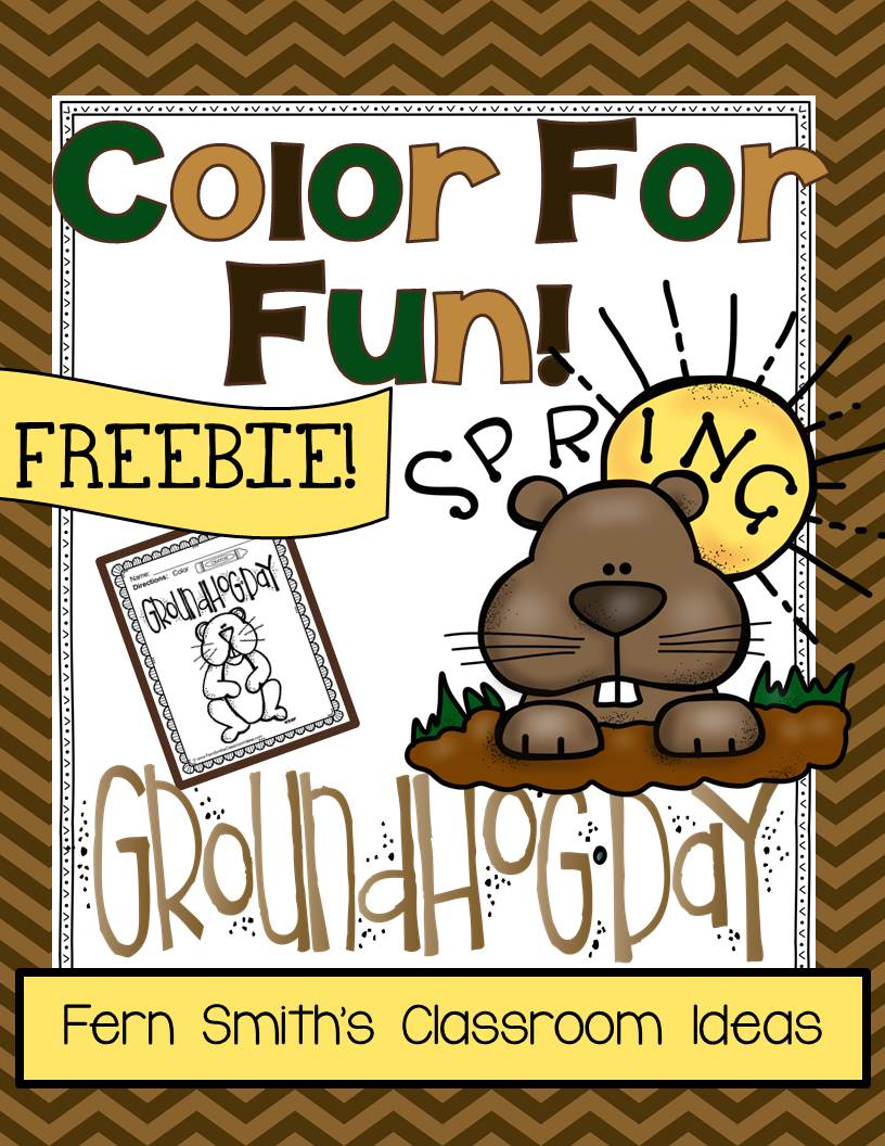 Fern's Freebie Friday ~ FREE Groundhog Day Fun! One Color For Fun Printable Coloring Page