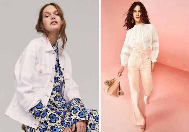 Жакет из белого денима и розовые джинсы