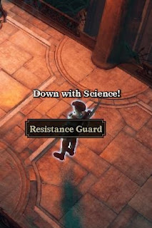 "Resistance Guard from Van Helsing shouting ""Down with Science!"""