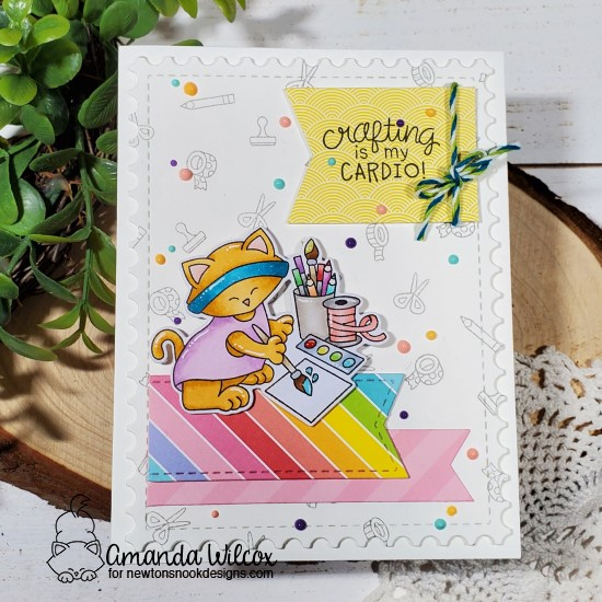 Crafty Cardio Kitty Card by Amanda Wilcox | Newton's Crafty Cardio Stamp Set, Frames & Flags Die Set and Framework Die Set by Newton's Nook Designs #newtonsnook #handmade