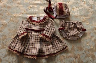 Vestido, niña, burdeos, cuadros, 1 año