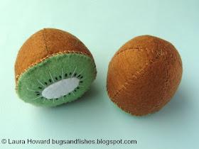 felt kiwi halves