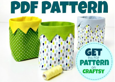 DIY Mini Fabric Bin - just the cutest little bin to sew! Get your PDF pattern on Craftsy.