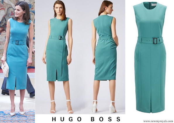 Queen Letizia wore Hugo Boss Dadoria Midi length shift dress