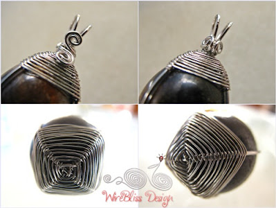 close up of the spider web wire wrapped pendant