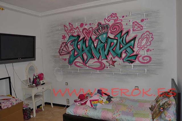 Letras graffiti Janira habitación