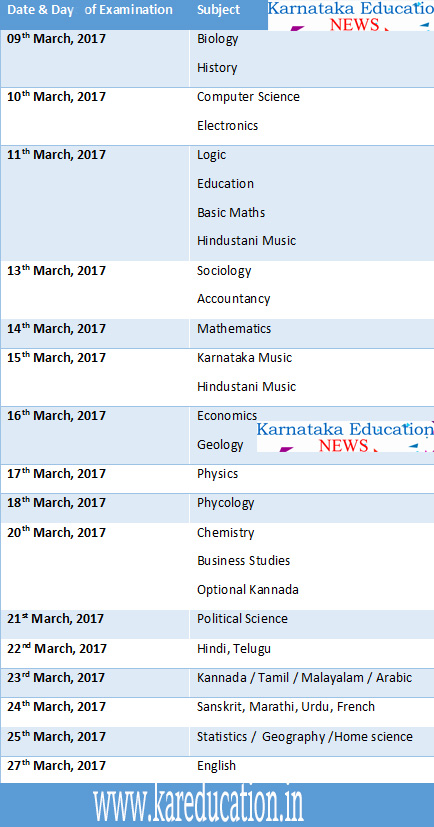 Karnataka puc time table 2017 karnataka board 2nd puc exam date karnataka puc time table 2017 karnataka board 2nd puc exam date sheet 2017 malvernweather Gallery