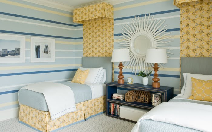 And Yellow Coordinate With Simple Blue Upholstered Headboards A Fl Crown Drape That Match The Pleated Bedskirts In Cute Twin Room