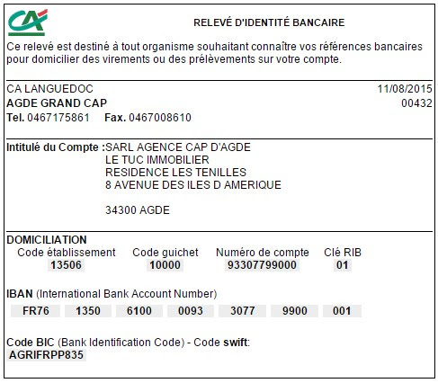 Compte banque RIB IBAN BIC SWIFT Agence Cap d'Agde Le Tuc Immobilier Cap d'Ag...