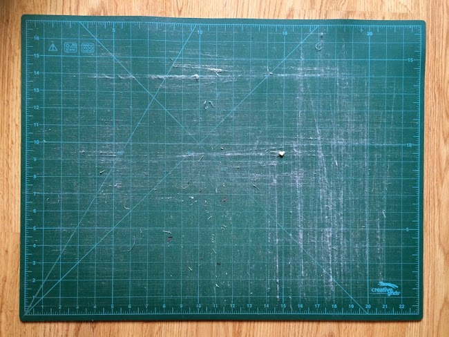 scratched worn cutting mat