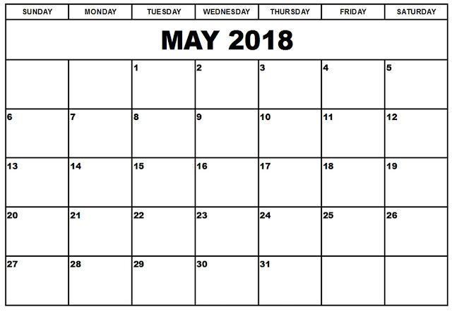 May 2018 Printable Calendar Templates