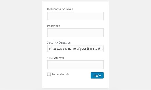Security Questions to WordPress Login Screen
