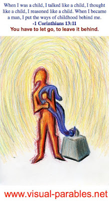 a person holding onto a security blanket that is tied to a huge weight