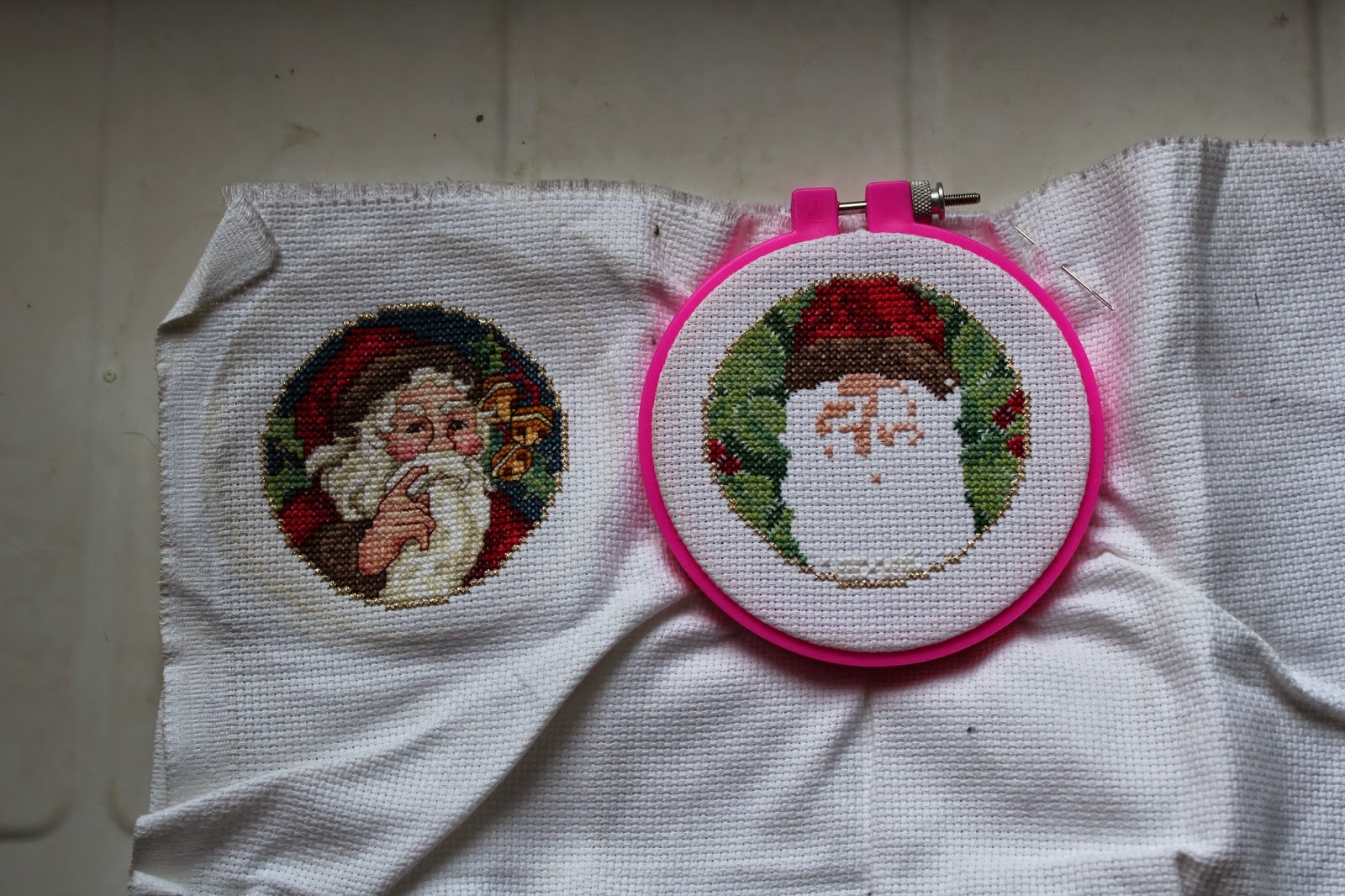 Half-finished Santa ornaments