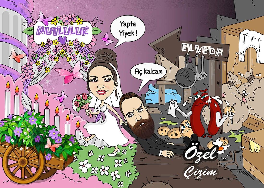 düğün panosu, Düğün giriş panosu,Düğün girişi için pano,Düğün karikatür, davetiye karikatürü, davetiye, Salon giriş panosu, gelin damat karikatür, kişiye özel karikatür,