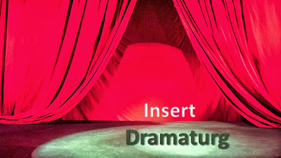 "A red stage curtain drapes over an empty stage where it's written, ""Insert Dramaturg."""