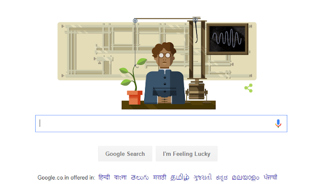 Google Doodle for Jagdish Chandra Bose 158th Birthday