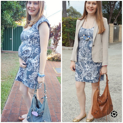 pregnancy and motherhood outfits: 1 dress second trimester and post baby return to work awayfromblue