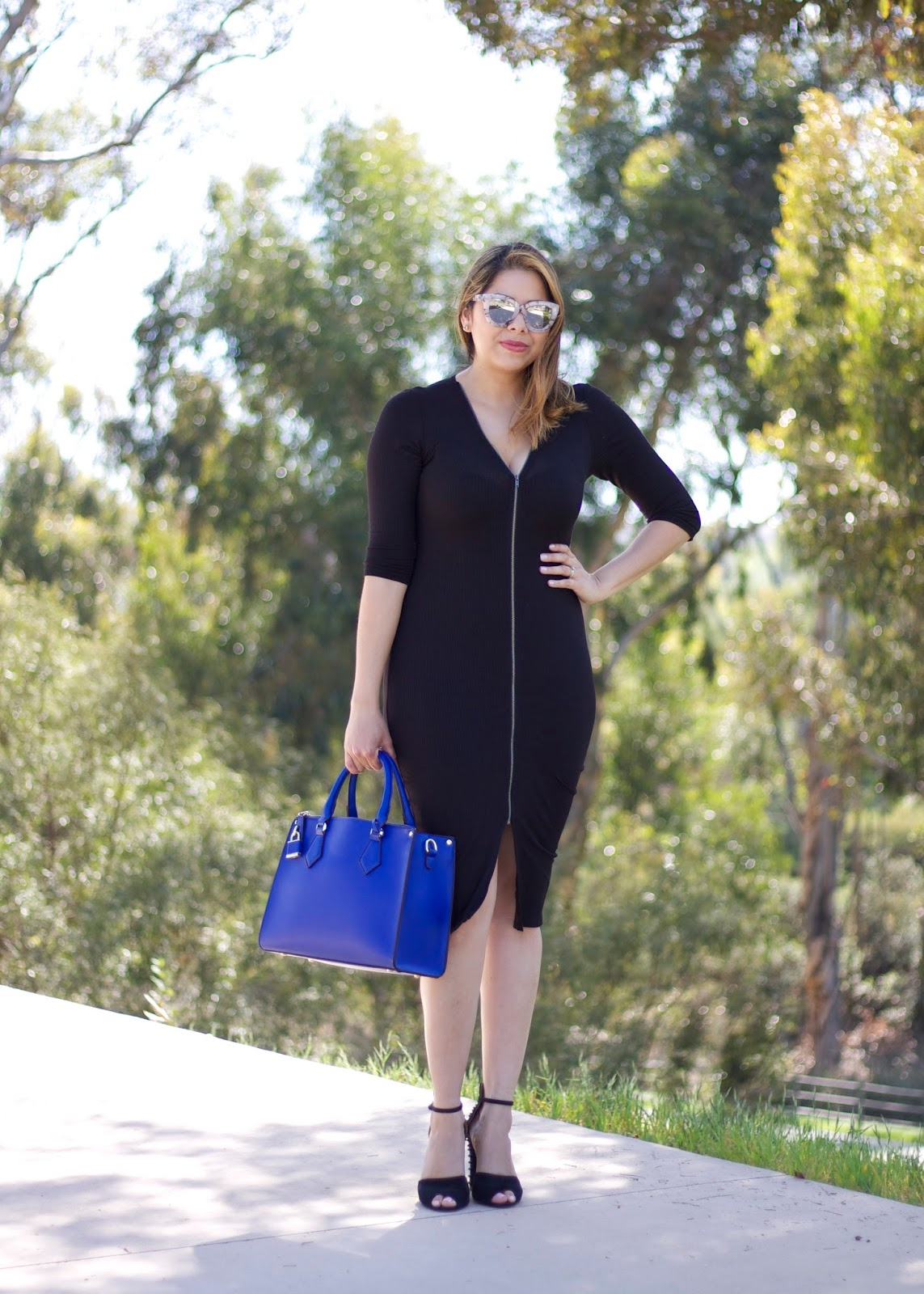 QUay sunnies, quay blogger, black and blue outfit, zara shoes