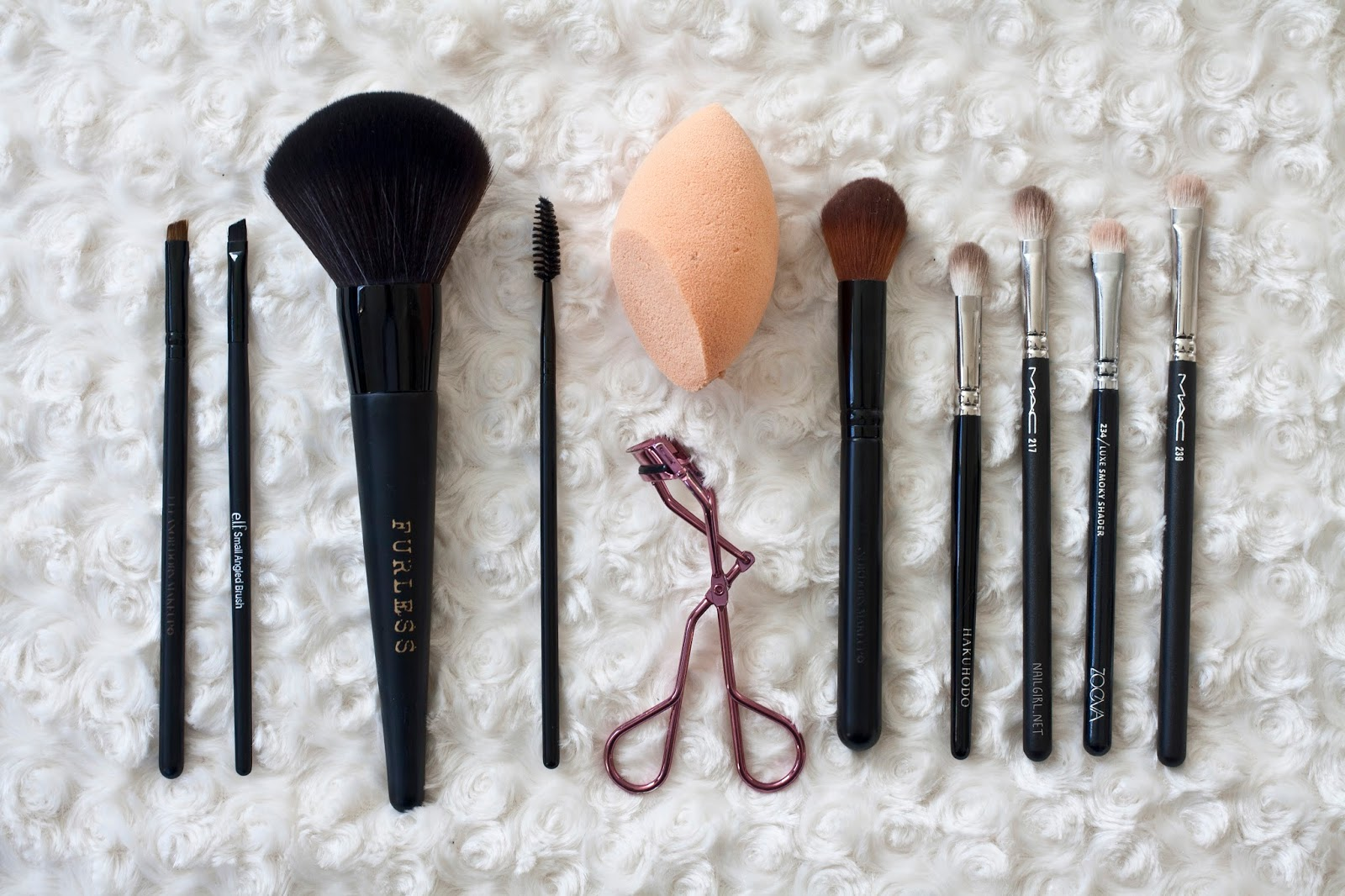 real techniques hakuhodo MAC elf Zoeva makeup brushes za furless cosmetics