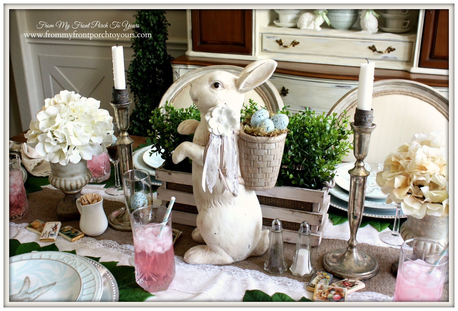 Rabbit Centerpiece-Easter Dining Room Decor-French Farmhouse Easter Dining Room- From My Front Porch To Yours