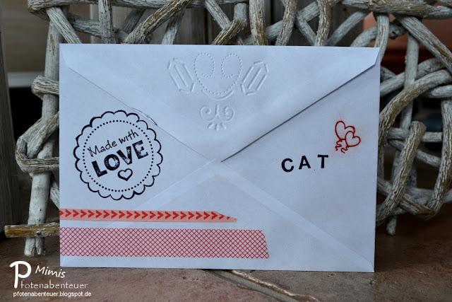 Katzenkuvert - gestaltet mit Stemel, Washi Tape und Embossing