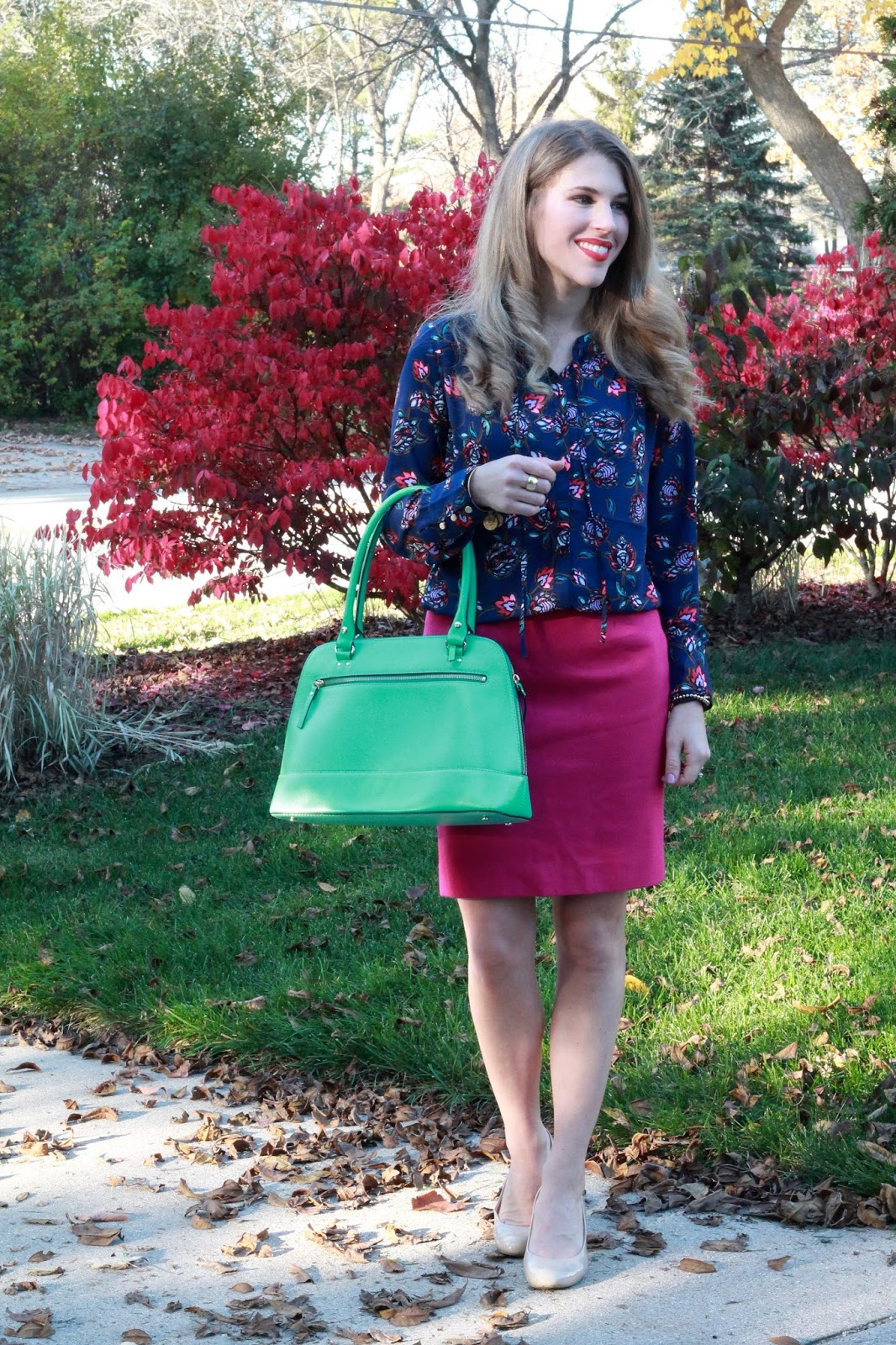 Express navy floral bow tie top, pink pencil skirt, nude heels, mint green Kate Spade bag, fall work outfit