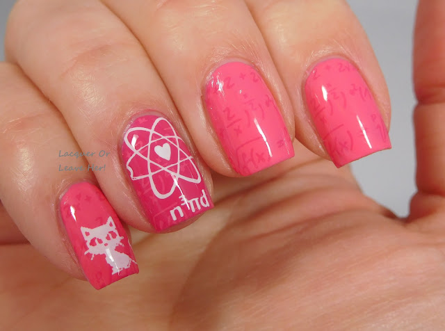 Lina Nail Art Supplies Hipster, Geek, or Chic 01 plate over Zoya Winnie and Byrdie