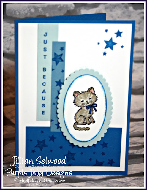 Vertical Greetings Stamp Set, Pretty Kitty Stamp Set, Marina Mist