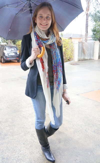 skinny jeans oversize tee boots blazer and scarf
